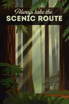 Always Take the Scenic Route - Forest - Geometric Lithograph - Lantern Press Artwork
