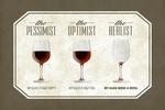 Wine Glasses - Pessimist Optimist Realist - Contour - Lantern Press Artwork