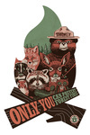 Smokey Bear & Woodland Creatures - Only You Can Prevent Wildfires - Contour - Lantern Press Artwork