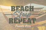 Puerto Rico - Beach, Sleep, Repeat - Hammocks on Beach at Sunset - Lantern Press Photography