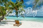 Puerto Rico - Seas the Day - Beach Lounger & Palms - Lantern Press Photography