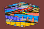 Colorful Wooden Boats on Lake - Contour - Lantern Press Photography
