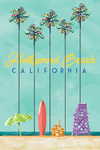 Hollywood Beach, California - Tall Palms Beach Scene - Lantern Press Artwork